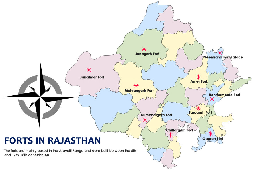 Rajasthan Forts Map