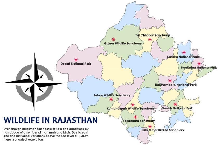 Rajasthan Wildlife Map
