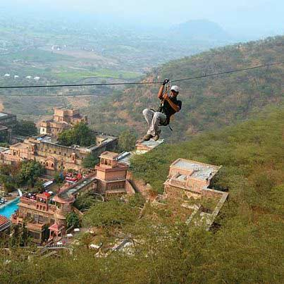 Zip-lining at Merangarh Fort